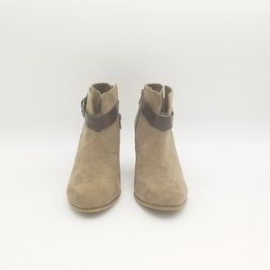 Shoes - Brown Short Boots with Leather Strap Accent